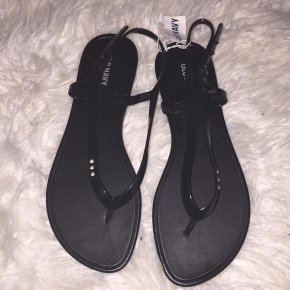 f15b2618dfb2 Black sandals with rhinestones on sandal strap